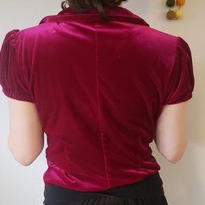 Fuchsia pink velvet vest